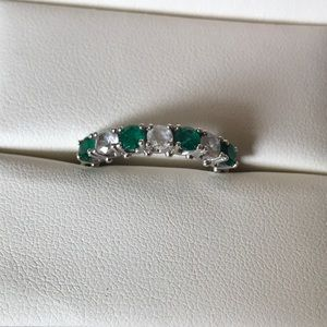 Simulated Emerald And White Sapphire Band